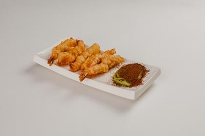 креветки темпура с муссом из васаби и какао
